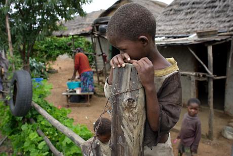 Boy on a fence, Mbabane, Swaziland, 2005.