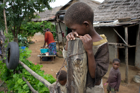 Boy on a fence, Mbabane, Swaziland, 2005.